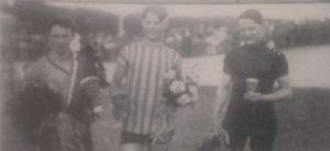 Fra det første Grand Prix i 1922. Fra venstre nr. 1 Oscar Guldager, nr. 2 Robert Hansen og nr. 3 Georg Clausen.