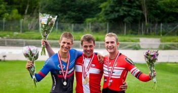Morten Abel, William Rimkratt-Milkowski og Mathias Munk ved DM på Aarhus Cyklebane d. 24. juni, foto: Toke Hage